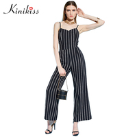 Kinikiss Women Rompers Jumpsuit 2017 Spring Black Striped Backless Zipper Straight Playsuit Female Sexy Straight Bodysuit