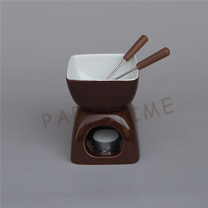 ceramic chocolate color fondue set square cheese warmer chocolate pot in fondue sets from home