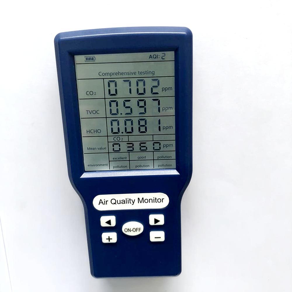 Portatile co2 ppm metri rilevatore di anidride carbonica co2 TVOC HCHO AQI monitor multi analizzatore di gas dal produttorePortatile co2 ppm metri rilevatore di anidride carbonica co2 TVOC HCHO AQI monitor multi analizzatore di gas dal produttore