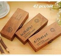 42PCS Set Alphabet Number Wooden Stamp Set DIY Decorative Stamp Wooden Box Funny Work 3designs For
