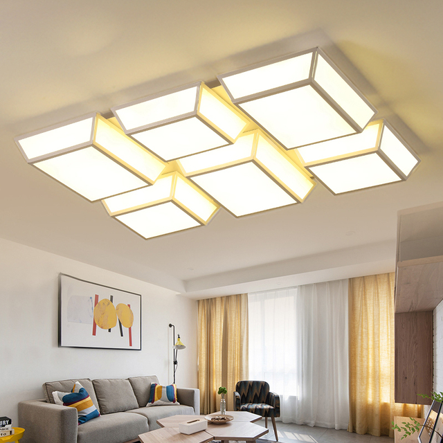 Office Led Ceiling Lamp Personality Modern Minimalist Living Room Acrylic Lighting Dimming Bright Bedroom Lights