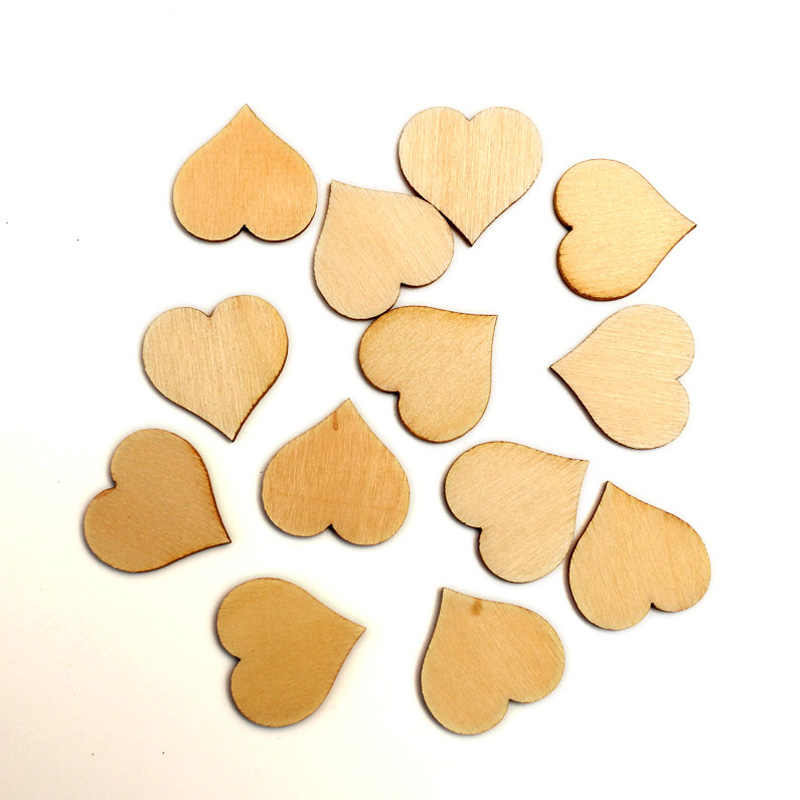 100pcs Natural Heart Wood Craft Embellishments MDF Wooden Cutout Flatback  Scrapbooking for Cardmaking DIY Art Wedding 58f8557af9e8