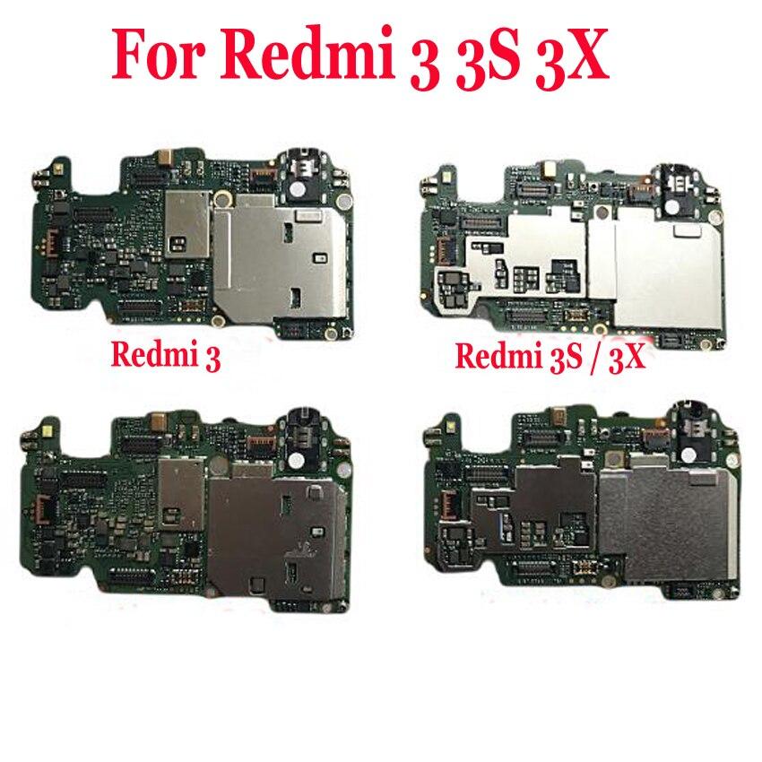 Global FirmWare Original Test Working Unlock Mainboard For Xiaomi Redmi 3 Hongmi 3S 3X Motherboard Logic Circuit Fee Flex Cable