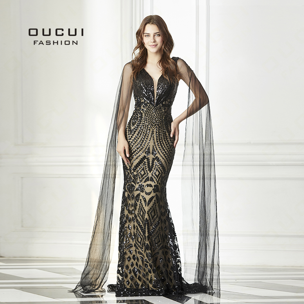 Oucui Evening Gowns Long Cap Sleeve Tulle Sequin Sexy V Neck High End Black Prom Dresses
