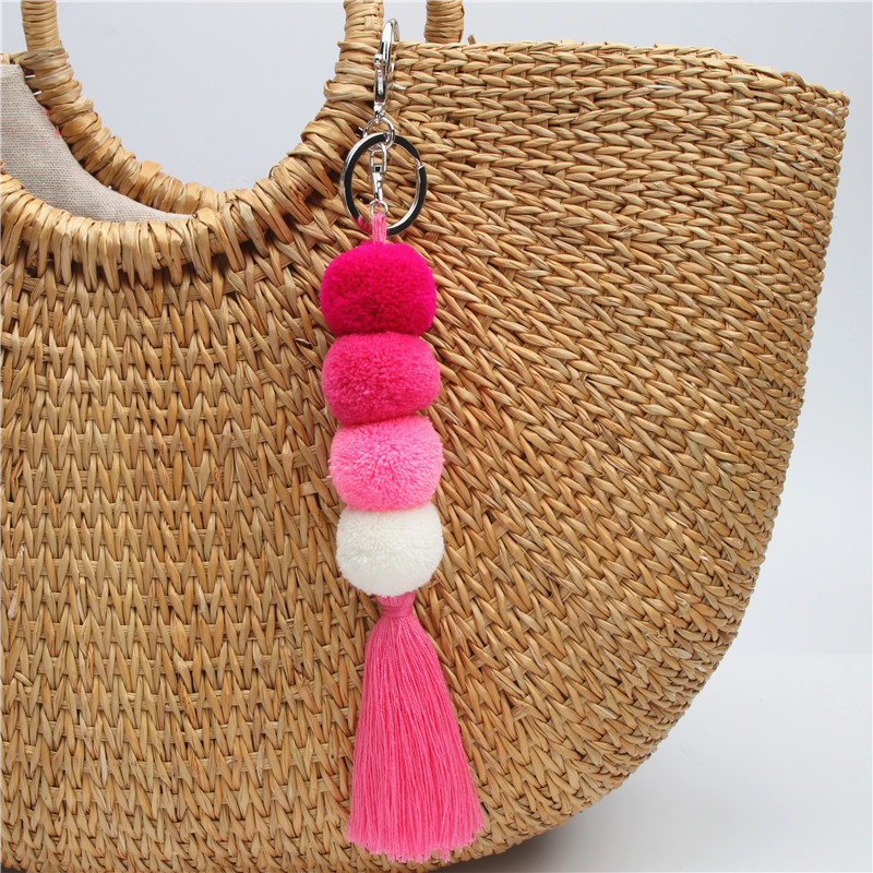 1pc Boho Style Pompom With Fringe Keychians Pompons Bag Charms Tassel Poms For Bags For Women Gift Handmade Jewelry