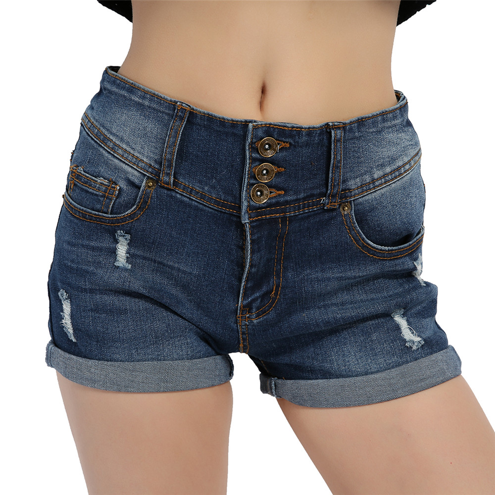 Woman Sexy Ripped Hole Denim Shorts