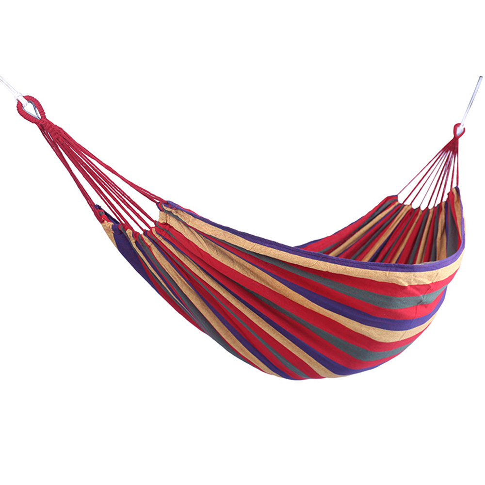 Image 2 - Portable Hammock Outdoor Hammock Garden Sports Home Travel Camping Swing Canvas Stripe Hang Bed Hammock Red Blue 280 x 80cm Tent-in Tents from Sports & Entertainment