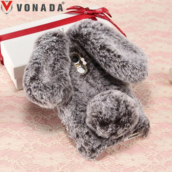 Vonada Plush Case for Xiaomi Redmi 5A 5 Plus 3 3X 3S 4 Pro Note 2 3 4 4X 5A Cute 3D Rabbit Ears Fur TPU Diamond Soft Case Cover