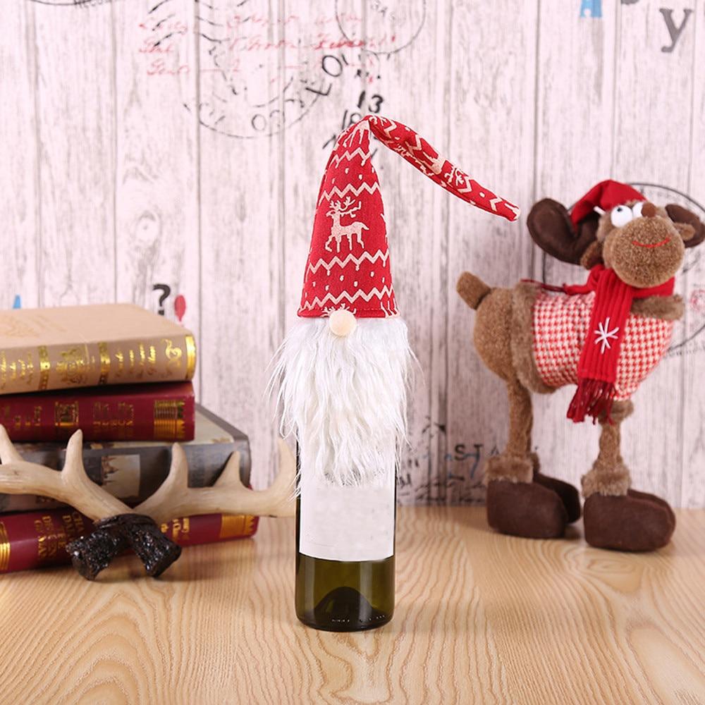 2018 Neue Kommen Weihnachten Zubehör Set Wein Flasche Abdeckung Santa Puppe Familie Abendessen Decor Rotwein Flasche Dekoration Wohnkultur