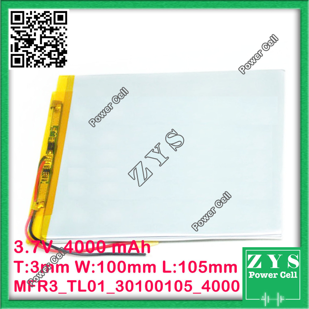 li-ion battery 3.7v 4000mAh rechargeable battery lithium battery 3.7 v 4000 mah for tablet pc size:3x100x105mm 30100105 03100105 3 7v 12000mah 1640138 combination rechargeable lipo polymer lithium li ion battery for power bank tablet pc laptop pad pcm board