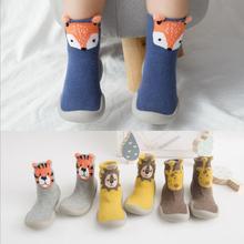 Обувь для малышей; нескользящие толстые ботинки с лисой, Тигром; носки-тапочки; носки с изображением животных и животных; tz05