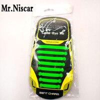Mr Niscar 1Set 16Pcs Green Kids Adult Unisex No Tie Elastic Shoelaces Elastic Sport Silicone Shoe