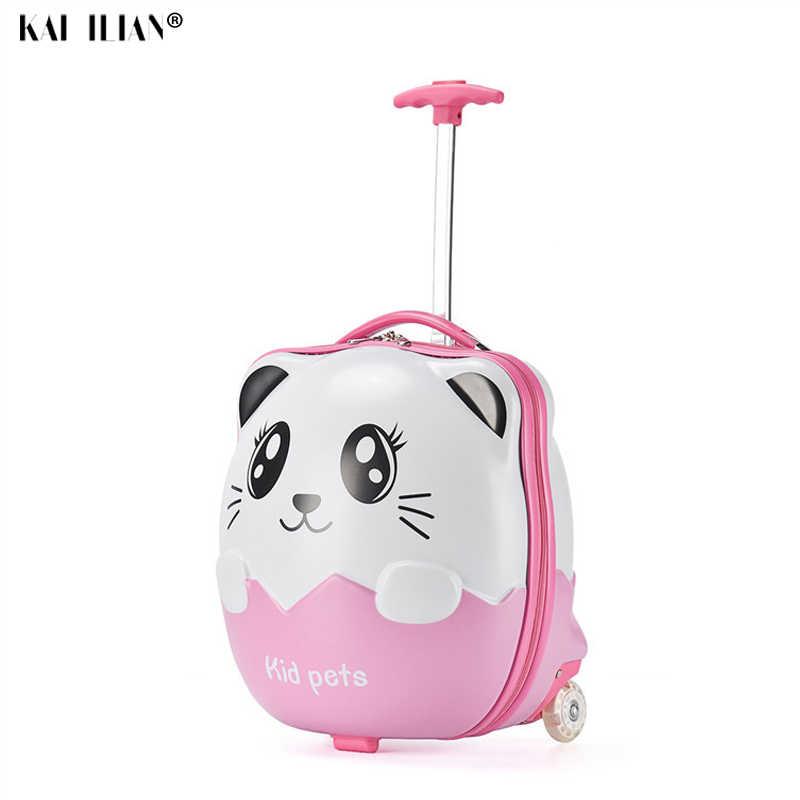 3D 漫画の子供のスーツケース 16 ''かわいい荷物女の子ギフト荷物トロリーケース子供のピンク子供荷物ボックス