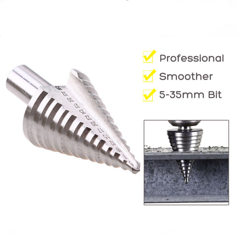 NEW 1pc 5-35mm HSS Dril Bit Spiral Grooved Cone Step Drill Bit Triangle Round Shank Hole Cutter For Cutting Wood Thin Iron