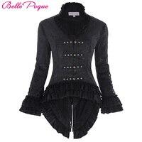 Women Coat 1950s Black Ladies Lace Up Coats Retro Vintage Victorian Corset Style Lace Embellished V