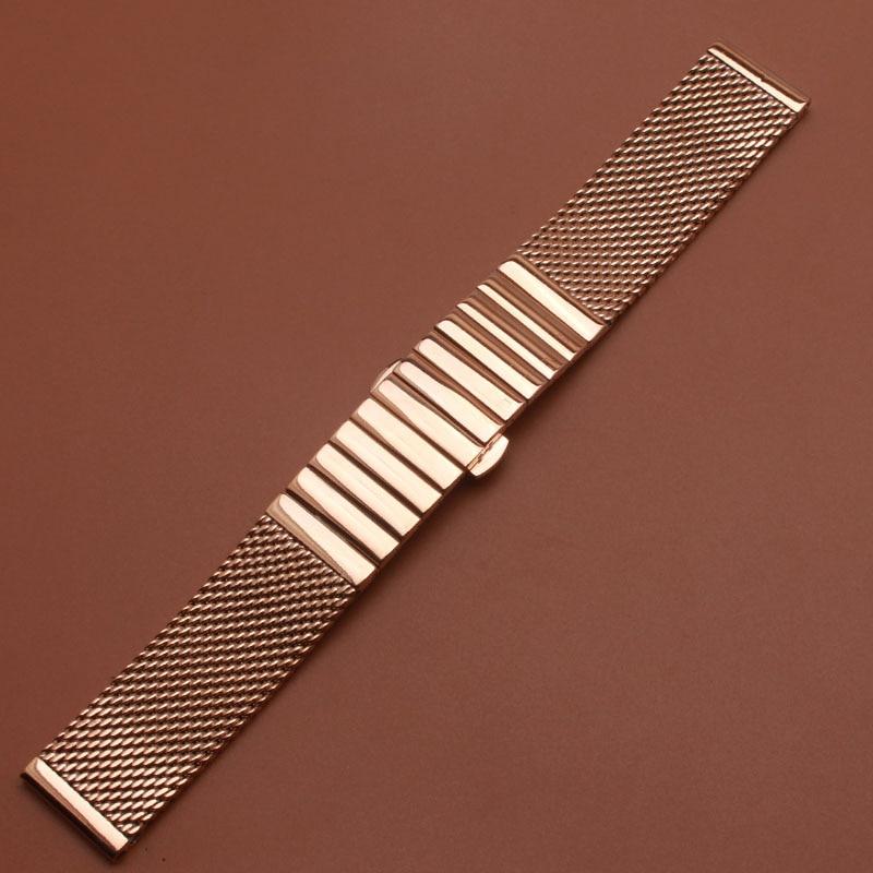 Horloge band 18mm 20mm 22mm hoge kwaliteit rvs shark mesh armband duiken horlogebanden rose goud mooie snelle levering-in Horlogebanden van Horloges op  Groep 2