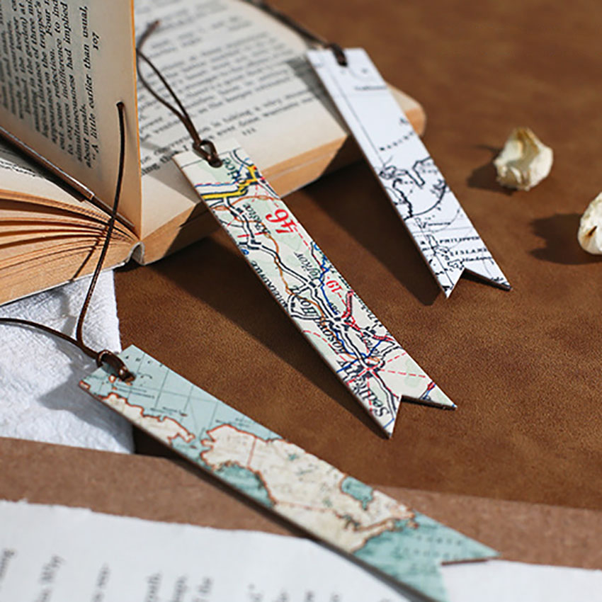 PU Bookmark Planet, Earth, Star Track, Old World Map Book Marker Decorative Book Page Holder Great Gift For Readers Women Men
