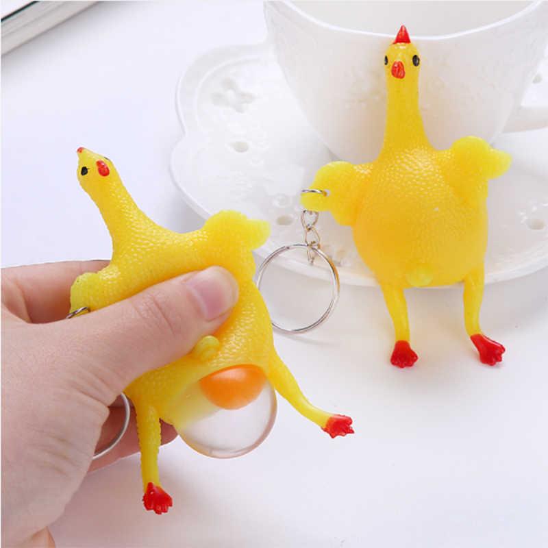 1pcノベルティおかしいスクイズトリッキーガジェットおもちゃ絞っ鶏産卵鶏とキーリングストレスリリーフかわいいプレゼントギフト