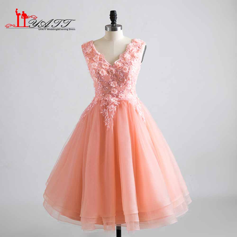 Robe De Soiree Pink   Cocktail     Dresses   V-Neck Knee-Length Homecoming Party Gowns   Cocktail     Dress   2019 Lace Flowers Appliques Newest