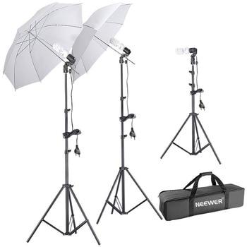 Neewer Studio Daylight Umbrella Light Kit, includes:2x 1.9m Light Stands+1x50cm Light Stand+3x220V 45W Light Bulbs+1xCarry Case