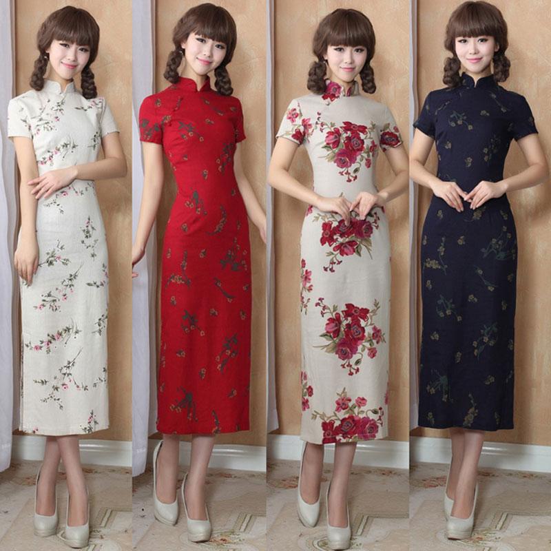 Vintage Elegant Women Long Cheongsam Dress Linen Cheongsams Long Qipao China Chinese Traditional Dress Clothes for Women