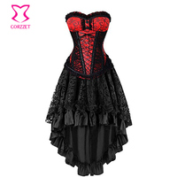 Red and Black Brocade Steel Boned Steampunk Overbust Corset Dress Women Victorian Party Masquerade Gothic Corset Skirt Clothing