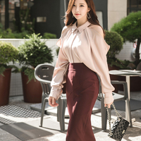 2018 Autumn 2 Piece Outfits Women Fashion Korean Cotton Long Sleeve Single Button Top + Zip Split Mid Long Skirt Two Piece Set