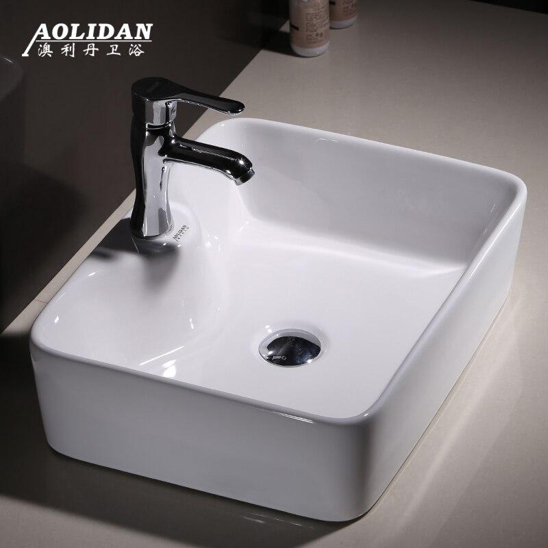 2019 9l évier salle de bains évier Promotion rideau de douche comptoir de salle de bain carré lavabo sanitaire en céramique articles Art augmenter