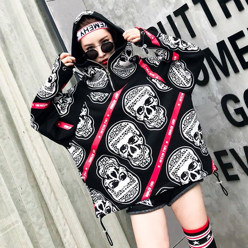 Tendance-Setter 2018 printemps mode Punk Style plus épais pull femmes crâne motif sweat à capuche lâche