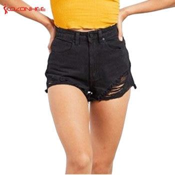 Loose  Hole Black Denim shorts for women High Waist harajuku breeches summer #19