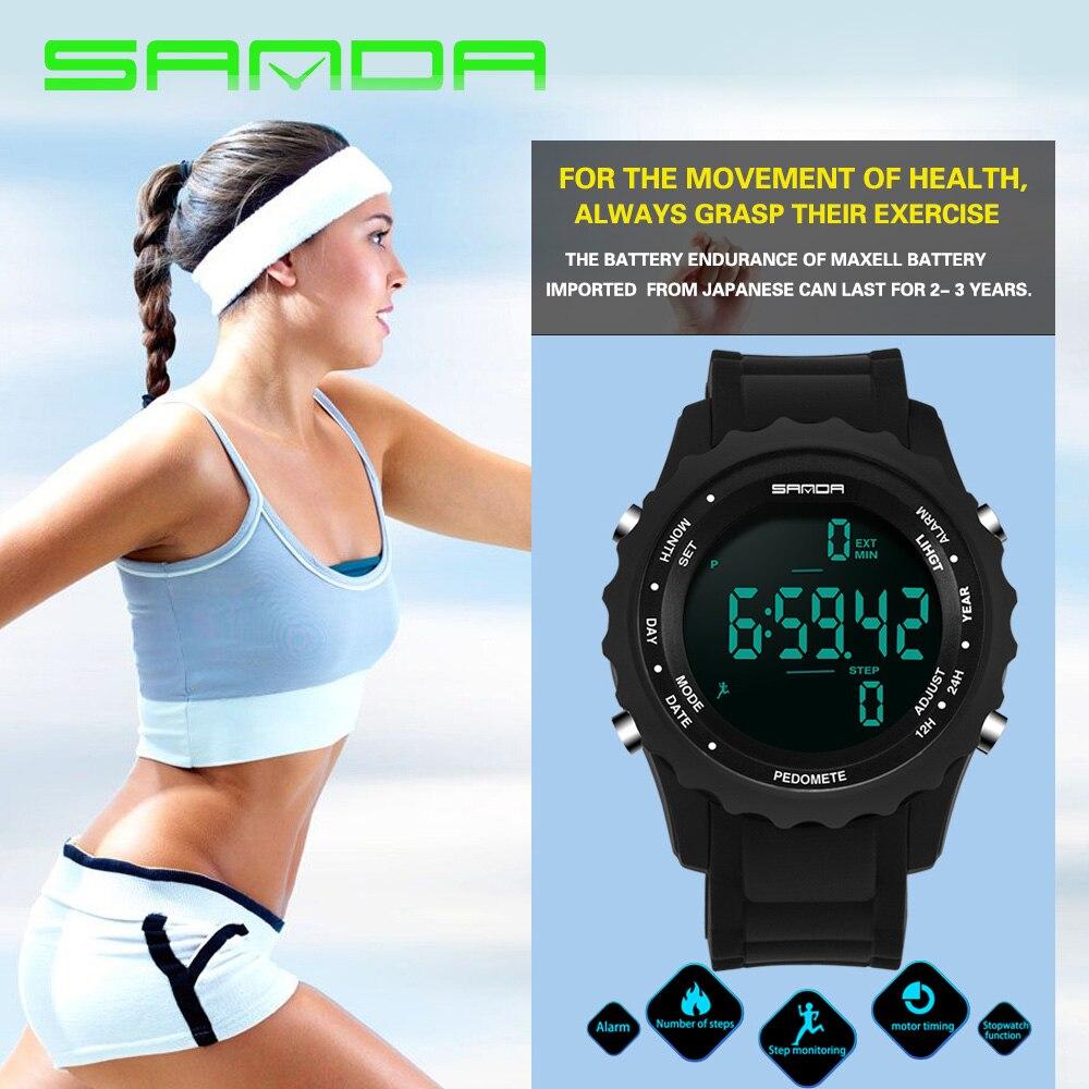 2017 sanda mulheres de luxo da marca relógio contador de passos pedômetro run esporte moda relógios casuais digitais levou relógio de pulso montre femme