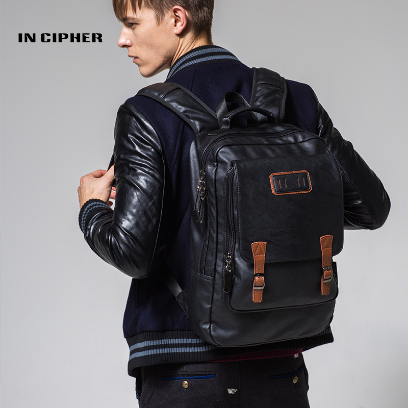 PU Leather Laptop Backpack Men Bags Waterproof Bookbag In Cipher Brand  Korean Version Fashion Trend Business Leisure Backpacks кабели и переходники