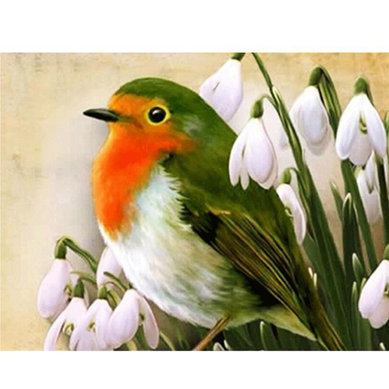 Special Section New Stone Painting Oil Painting Orchid Green Bird Round Diamond Full Diamond 5d Diy Cross Stitch Diamond Painting Arts,crafts & Sewing Home & Garden