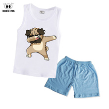 hot deal buy dmdm pig boys clothing sets children summer girls clothes dabbing funny cartoon kids sport suits vest+pants size 4t 2 3 4 years