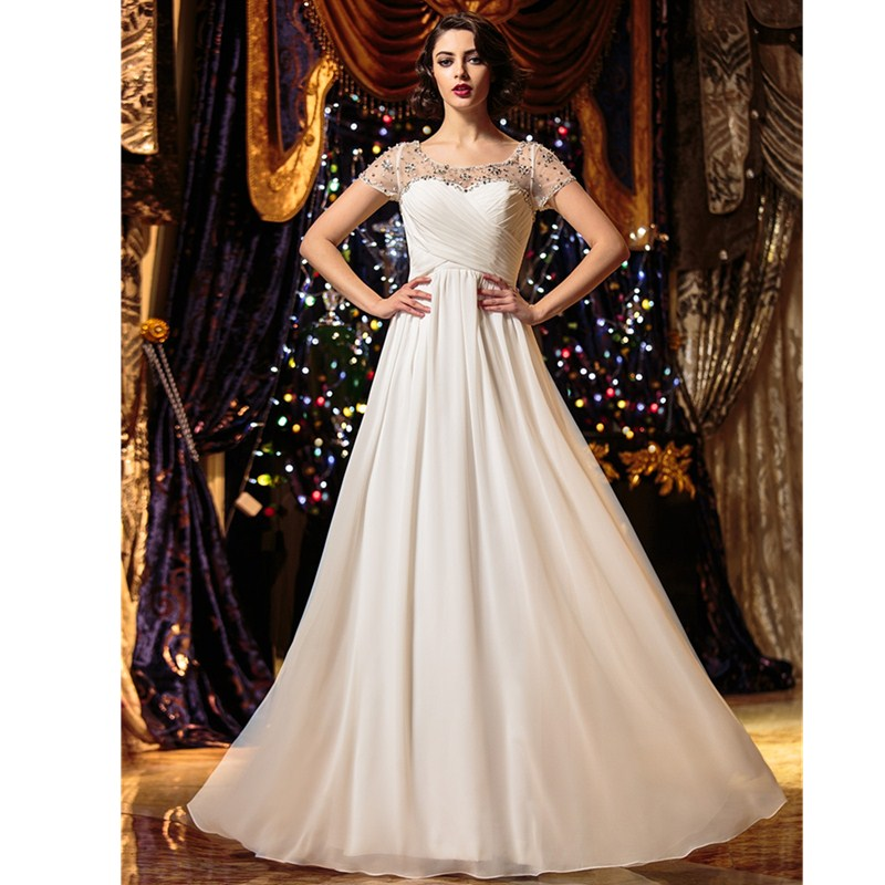 LAN TING BRIDE A-Line Scoop Neck Floor Length Wedding Dress Chiffon Bridal Gown with Beading Criss-Cross