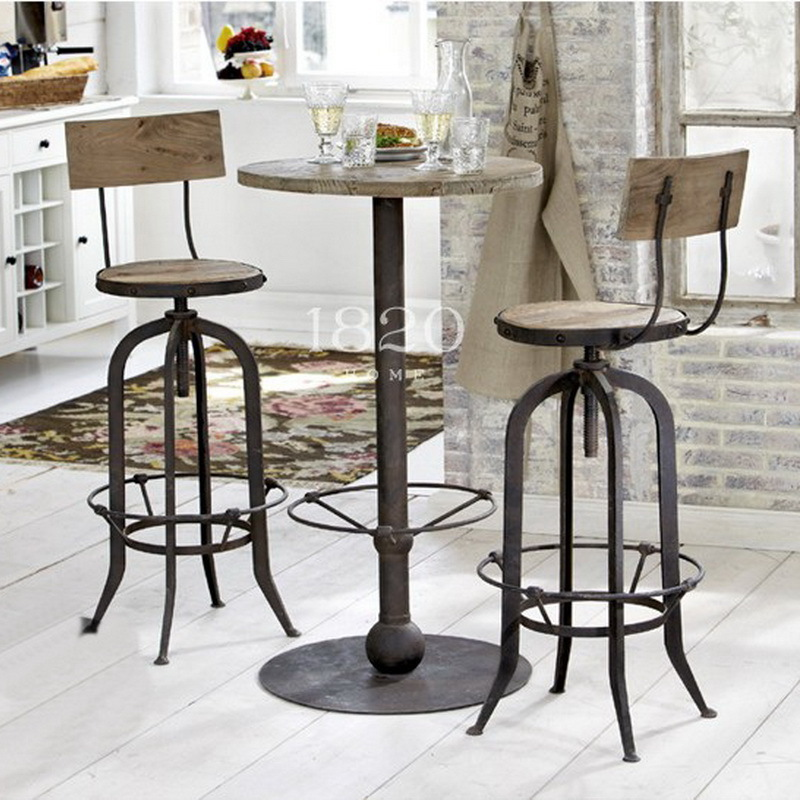 American Country To Do The Old Retro Rust Iron Bar Chairs