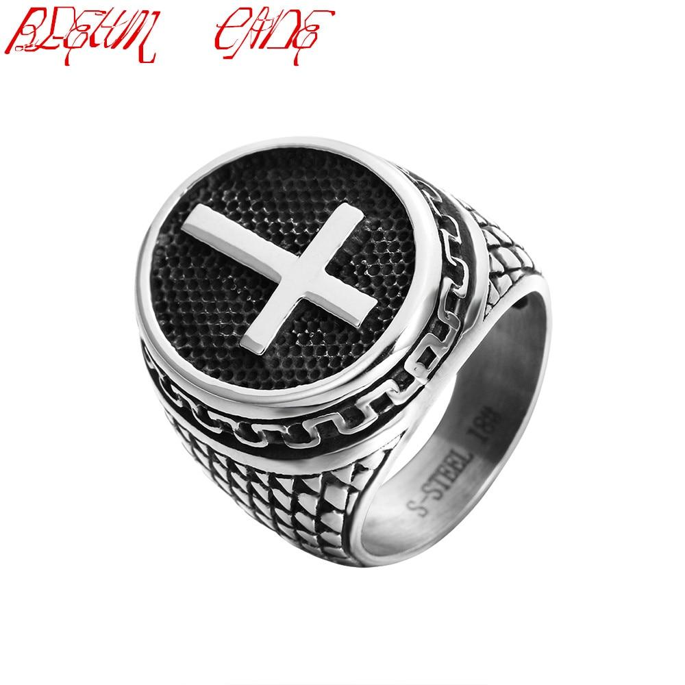 316L Stainless Steel Cross Ring For Men Black Titanium Vintage Male Rings equte rssm35c5s9 316l titanium steel x finger ring blue silver usa 9