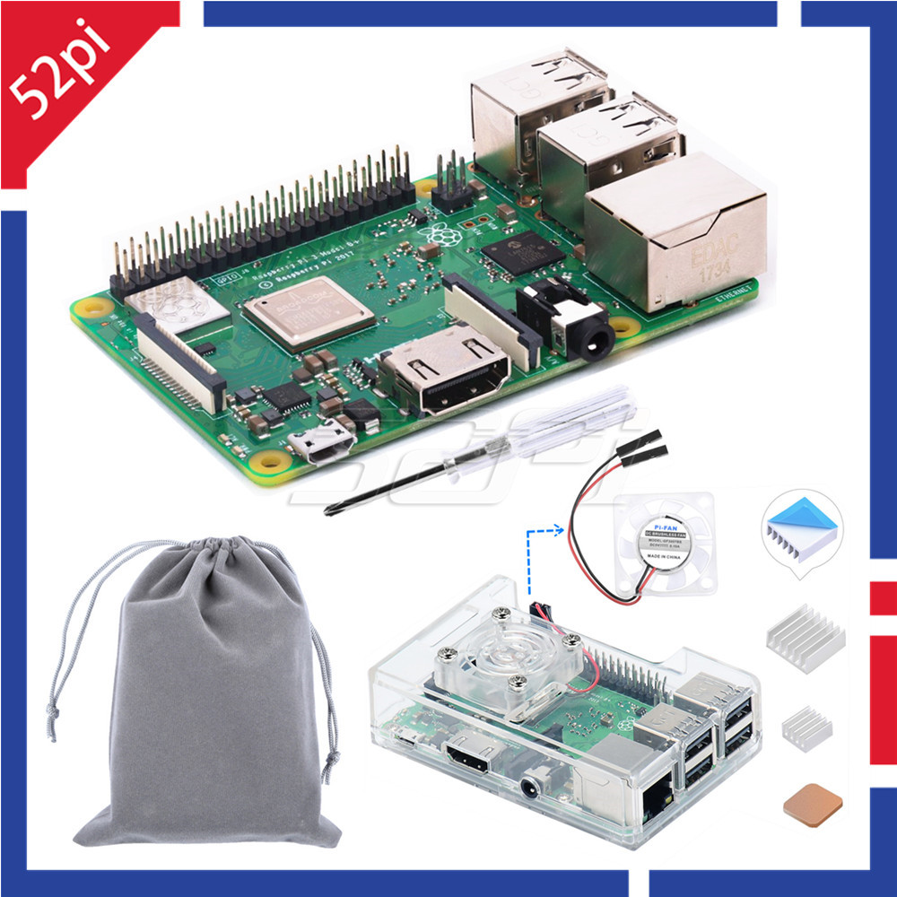 52Pi Raspberry Pi 3 Model B Plus 3B plus 3B 1 4GHz 64bit CPU 1GB RAM