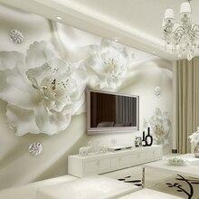 Custom Photo Wallpaper 3D Mural Wall Stickers Aesthetic Light Luxury Flowers European Style 3d TV Backdrop papel de parede