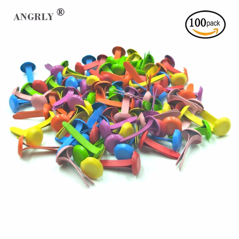 100pcs Mixed Color Round Metal Brads Paper Fastener for Scrapbooking Crafts