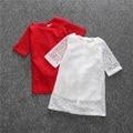 Цветочные Платья Кружева Полые Дети Платье Красный Белый Дети девушки Одежда 2016 лето принцесса