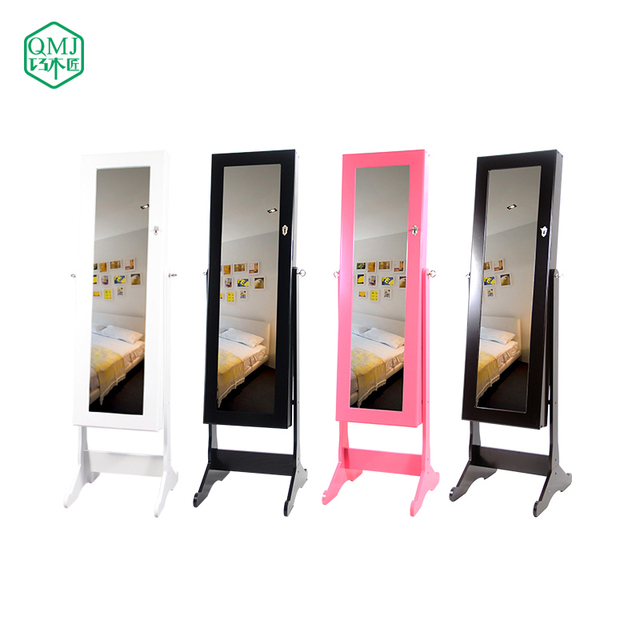 Four Colors New Luxury Large Wooden Jewelry Cabinet With Floor Stand Mirror Storage For Makeup