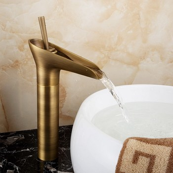 Antique Brass Bathroom Basin Faucet Waterfall Spout Mixer Tap Deck Mount Single Hole Mixer Tap KD738 everso newly bathroom basin sink faucet waterfall widespread chrome polish single handle single hole mixer tap deck mount