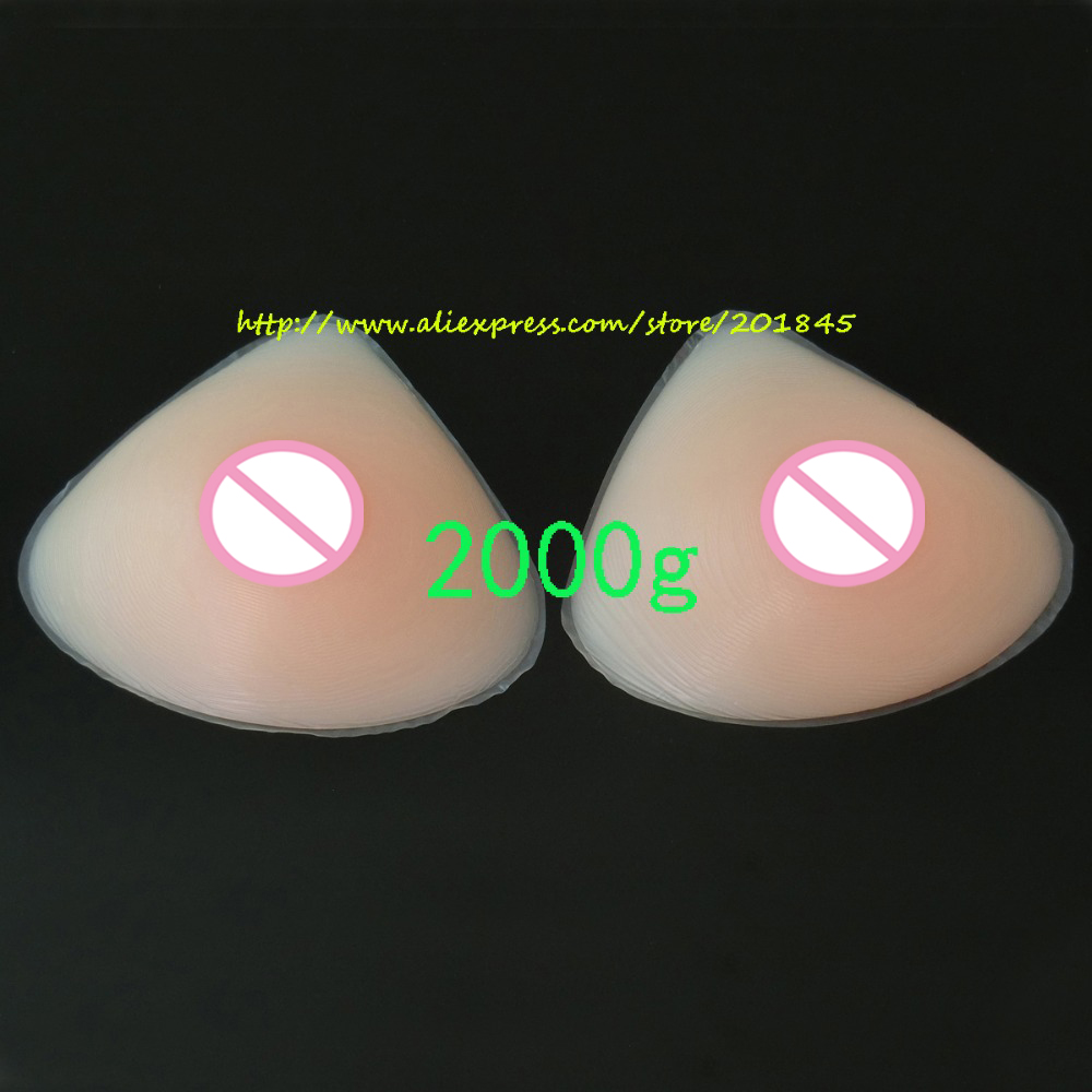 Triangle Shape New 2000g/Pair Silicone Breast Form Artificial Huge Fake False Chest Prosthesis Boobs Enhancer For Mastectomy 2000g pair beige circular realistic silicone artificial false boobs forms fake breast for women s falt chest mastectomy
