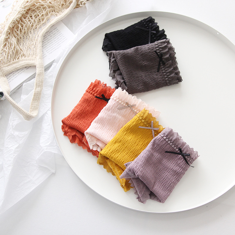 Image 4 - Lace Womens Panties Fashion Comfortable Womans Underpants  Antibacterial Breathable Elastic Color Briefs Females Panties  Womenwomens panties
