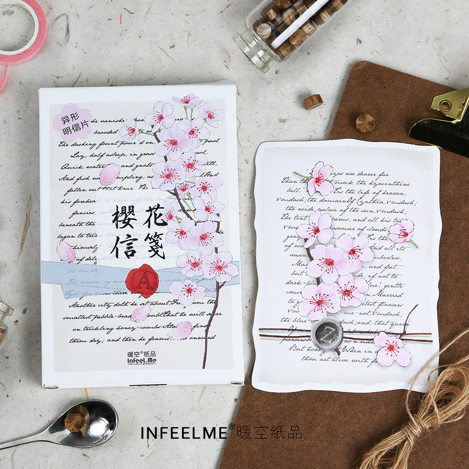 30 Sheets/Set Cherry Blossom Letterhead Postcard /Greeting Card/Message Card/Birthday Letter Envelope Gift Card