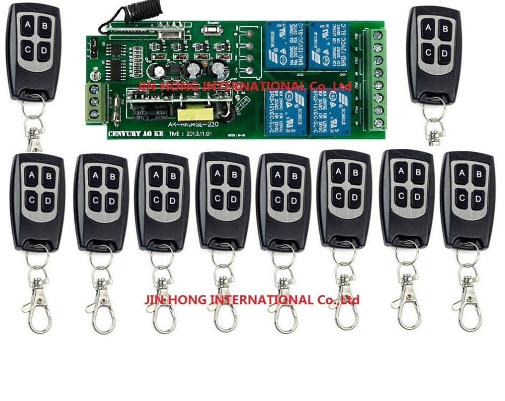 110V~ 220V 4CH RF Wireless Remote Control Relay Switch Security System Garage Doors Gate Electric Doors 11pcs/lot JRL-22018 4ch rf wireless remote control relay switch security system1receiver