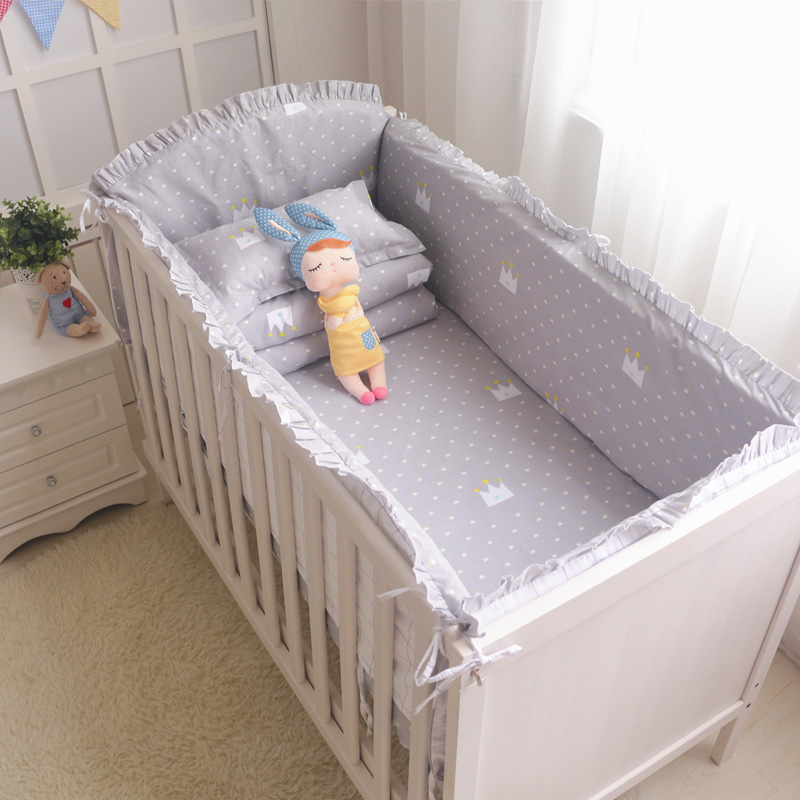 8Pcs Classic Grey Crown Crib Bedding Set Boys Girls Baby Cot Cotton Linens Include Bumpers Sheet