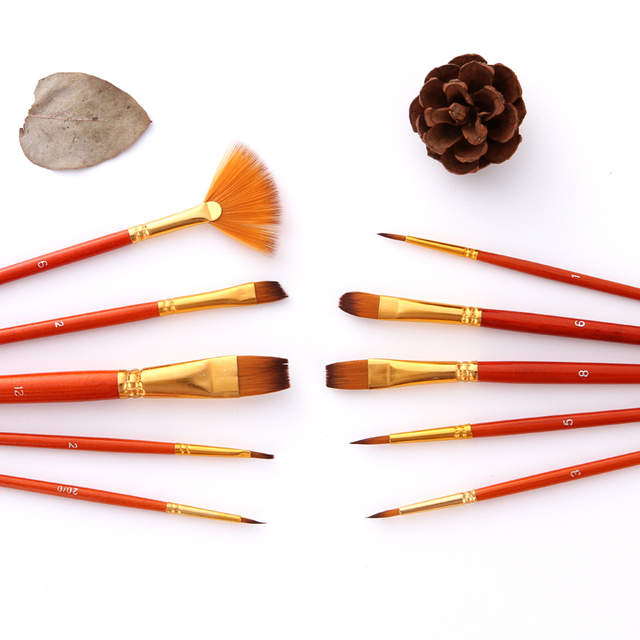 10Pcs Paint Brushes Set Nylon Hair Painting Brush Short Rod Oil Acrylic Brush Watercolor Pen Professional Art Supplies 3