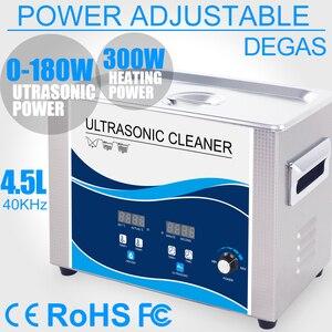 Image 1 - Nettoyeur à ultrasons Portable 4,5l 180W puissance réglable, transducteur ultrasonique, vaisselle, outils de lentilles de laboratoire